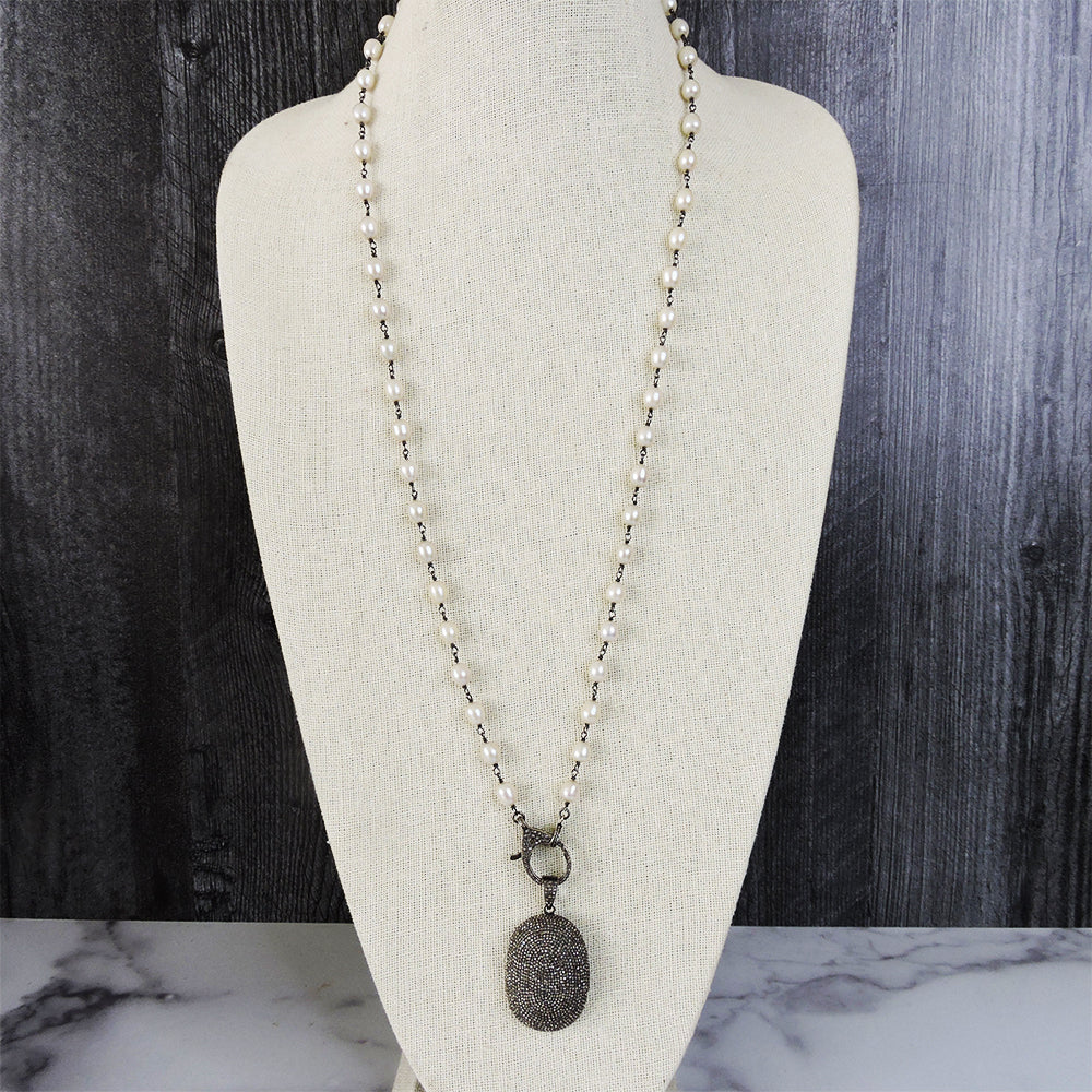 Pearl Long Single w/ Pave Diamond Clasp - Blackbird General Store