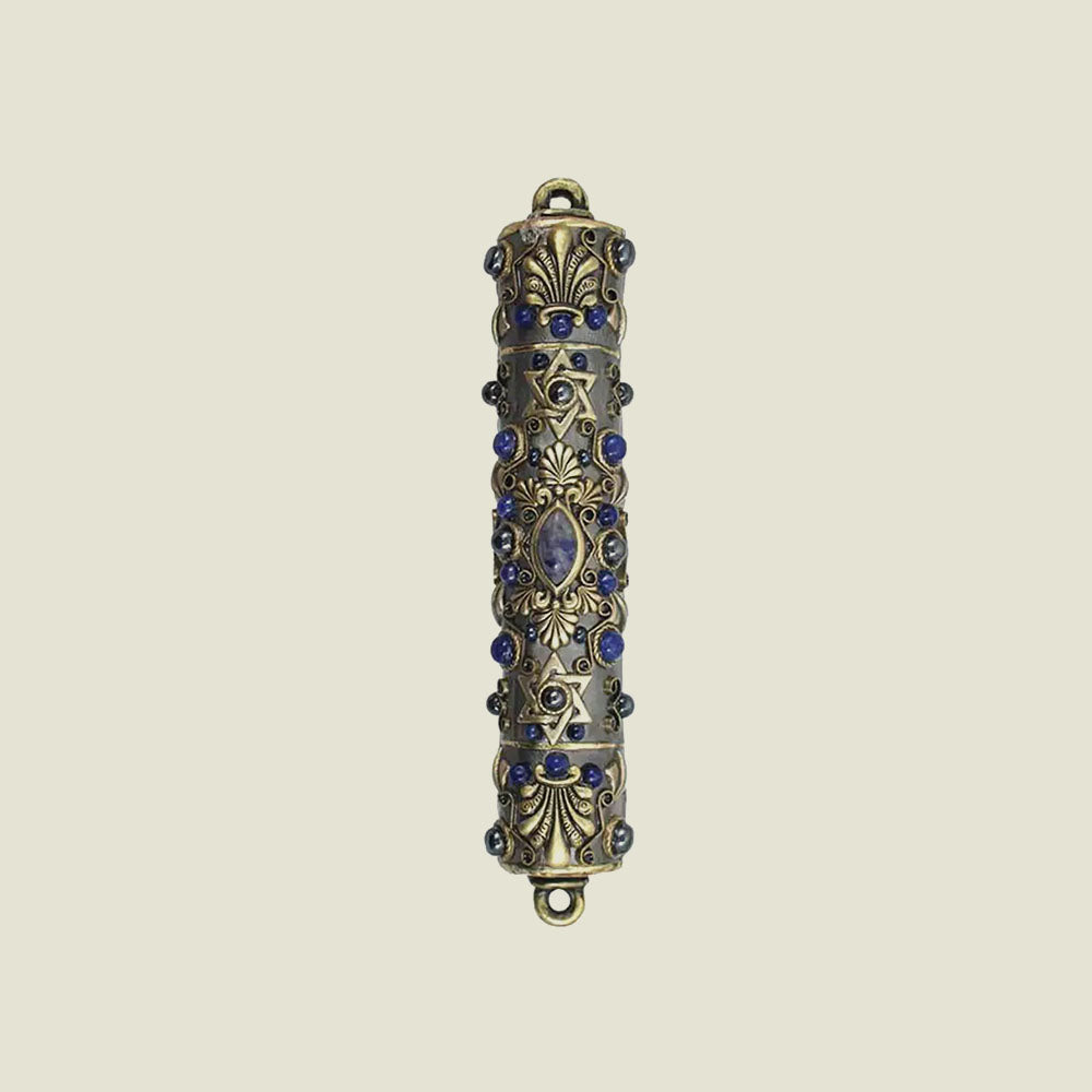 Dark Blue Gold Mezuzah - Blackbird General Store