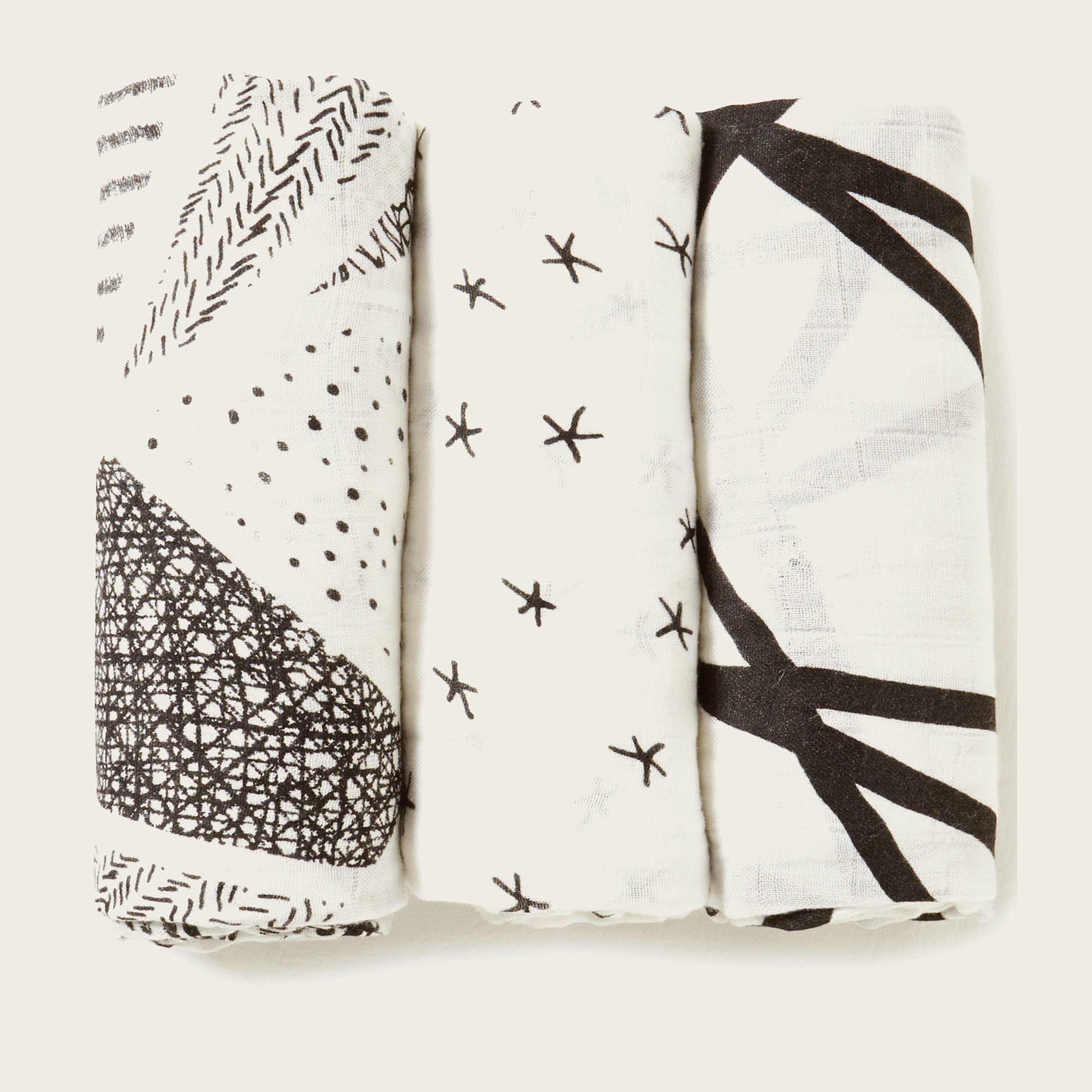 Midnight 3 pack Silky Soft Swaddles - Blackbird General Store