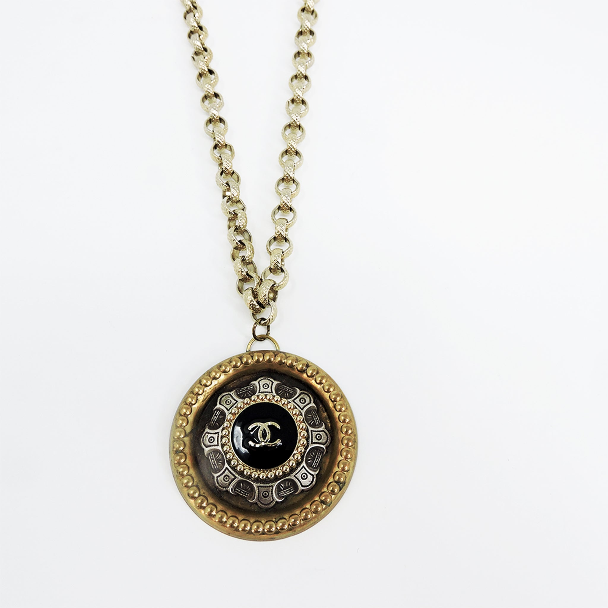 Black Chanel Shield Necklace