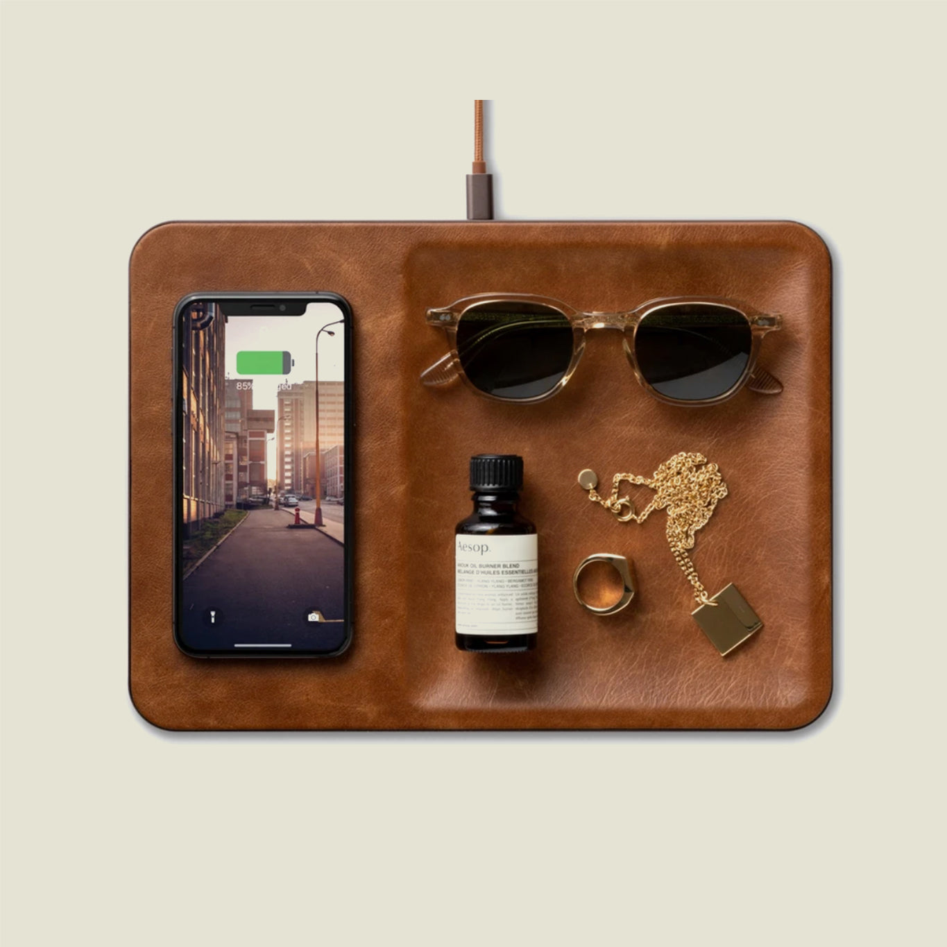 Leather Wireless Charger & Catchall Tray - Blackbird General Store