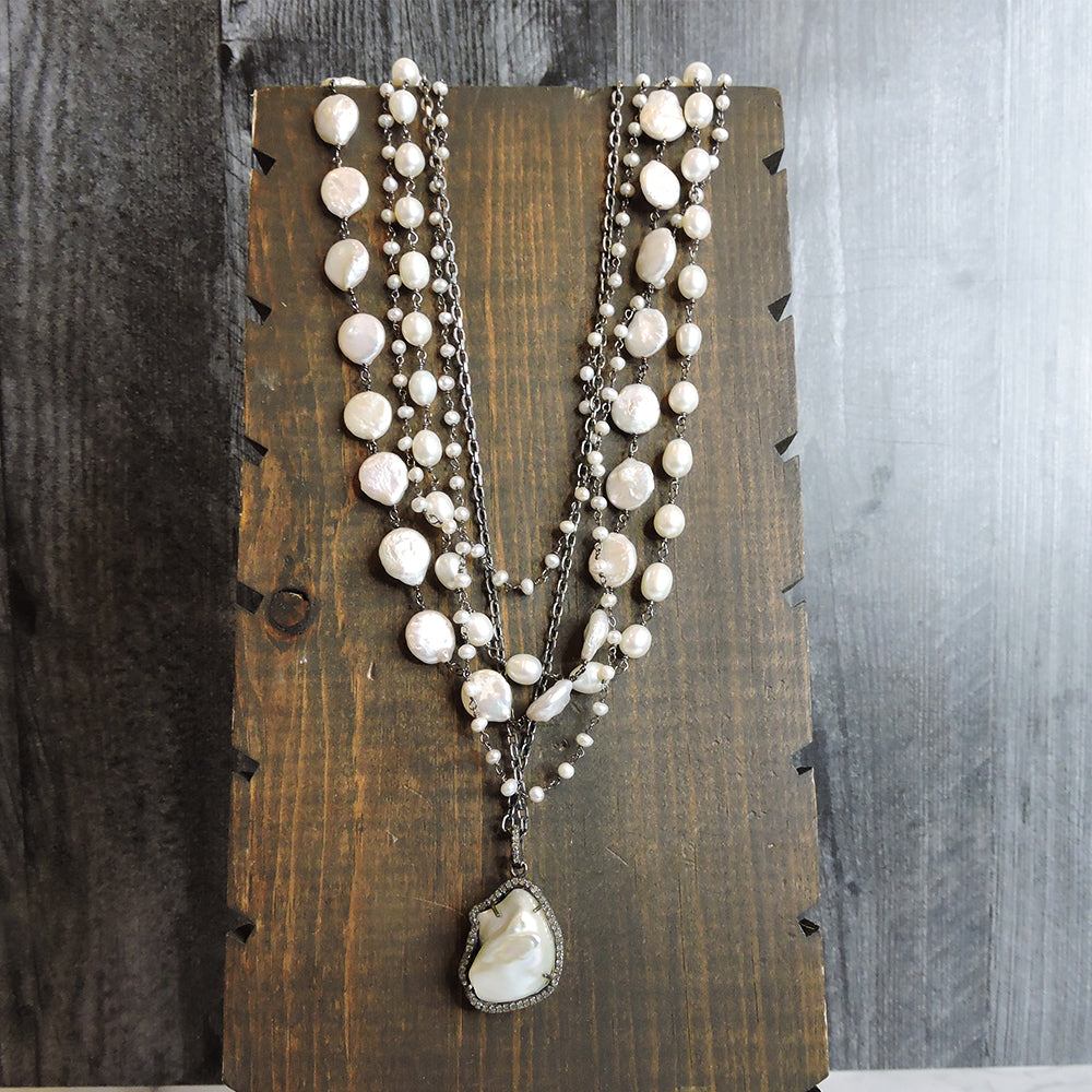Multi-strand Pearl & Diamond Necklace - Blackbird General Store
