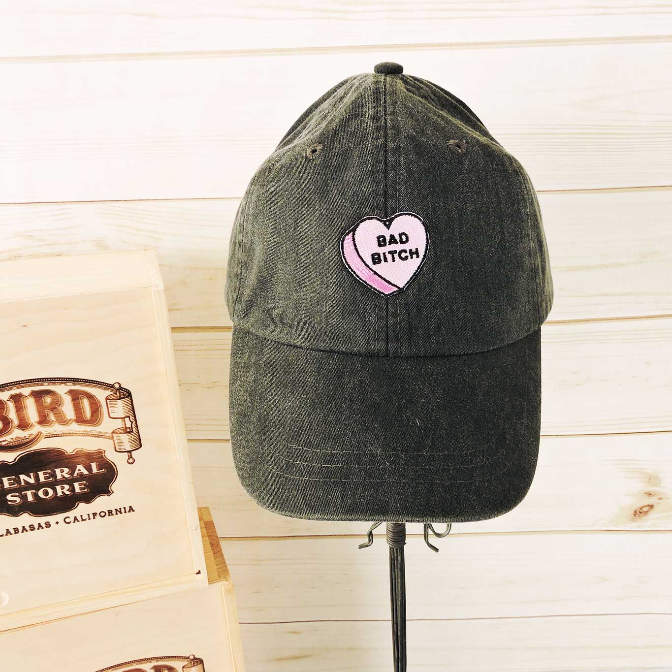 Bad Bitch Baseball Hat - Charcoal - Blackbird General Store