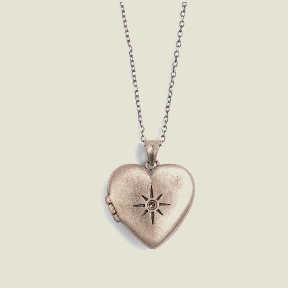 Heart Locket with White Topaz Stone - Blackbird General Store