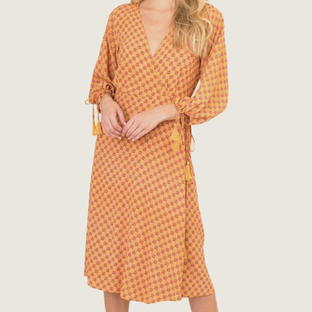 Sunrise Lotus Wrap Dress - Blackbird General Store