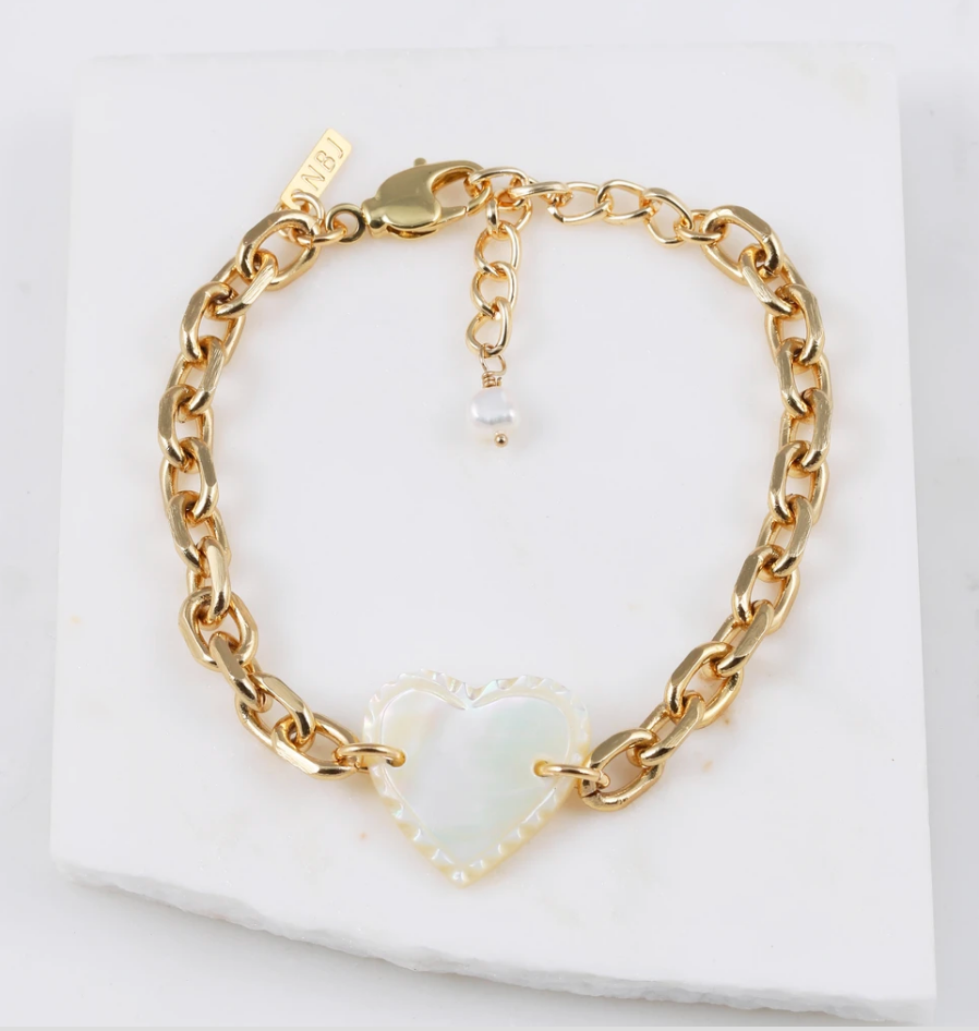 """Femi"" Vintage Mother of Pearl Heart Bracelet - Blackbird General Store"