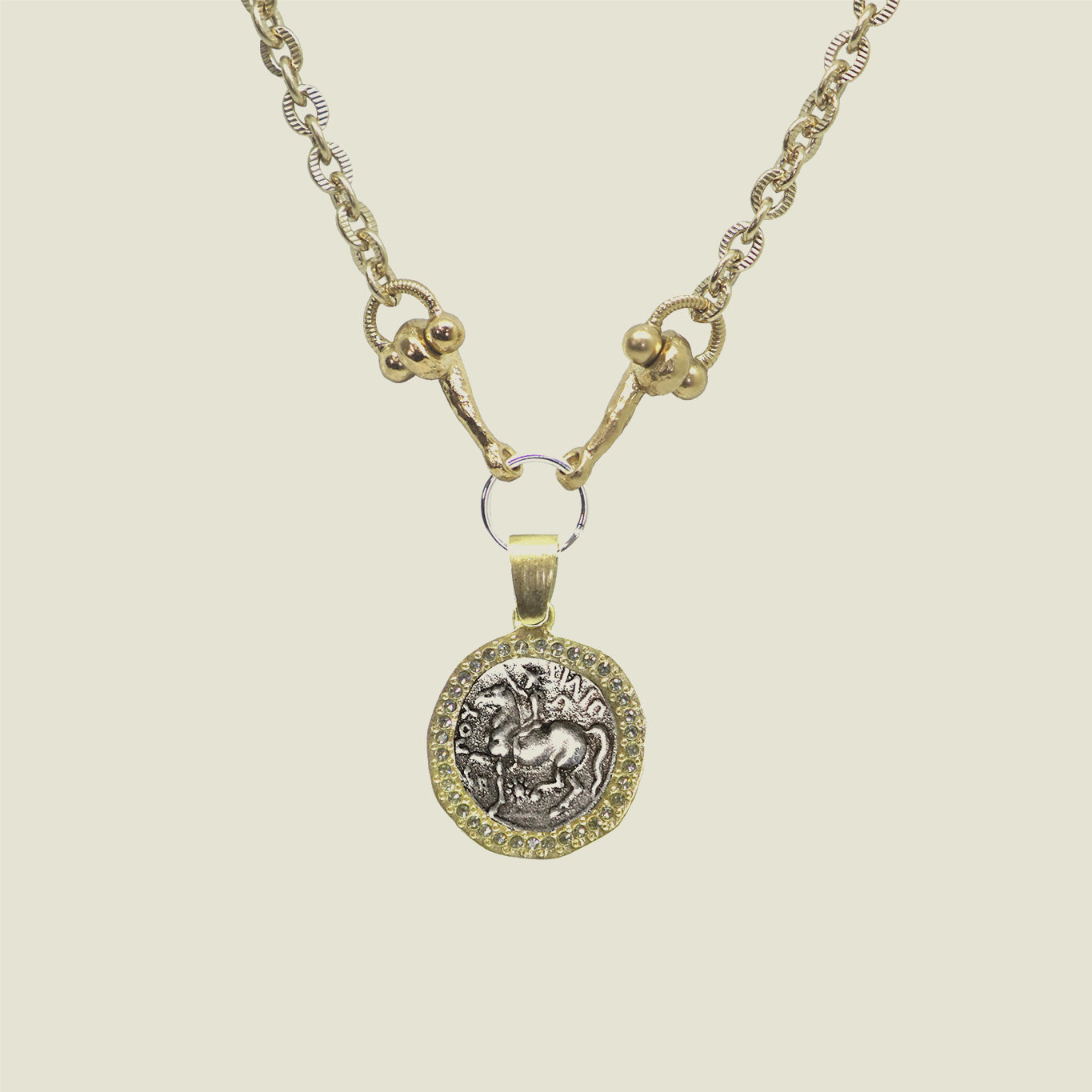 Gold Horse Crystal Horsebit Necklace - Blackbird General Store