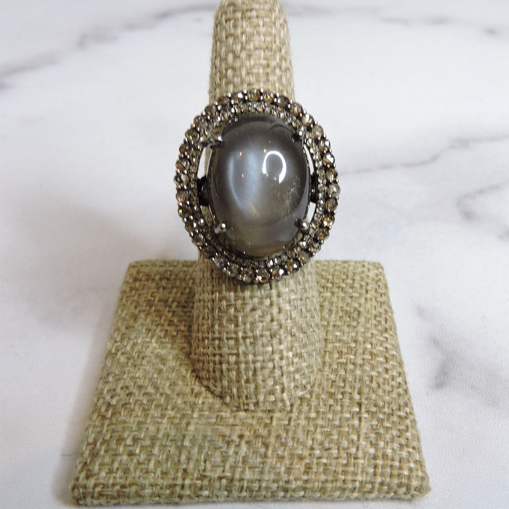 Grey Moonstone & Diamond Ring - Size 7 - Blackbird General Store