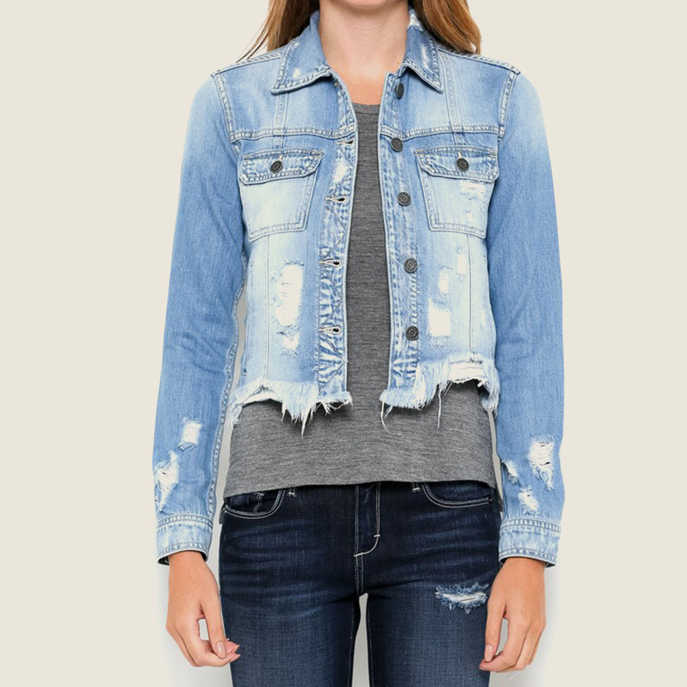 Distressed Crop Denim Jacket - Blackbird General Store