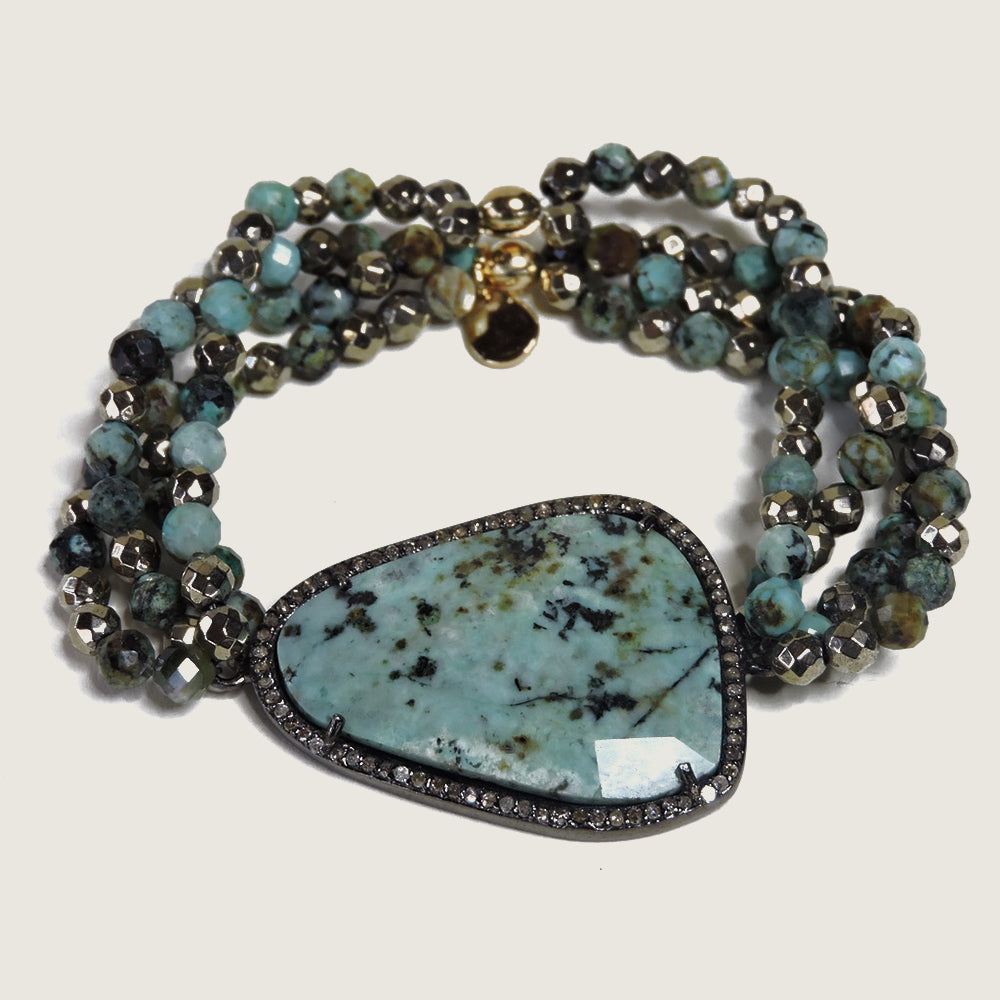 Eclipse Diamond Turquoise Bracelet - Blackbird General Store