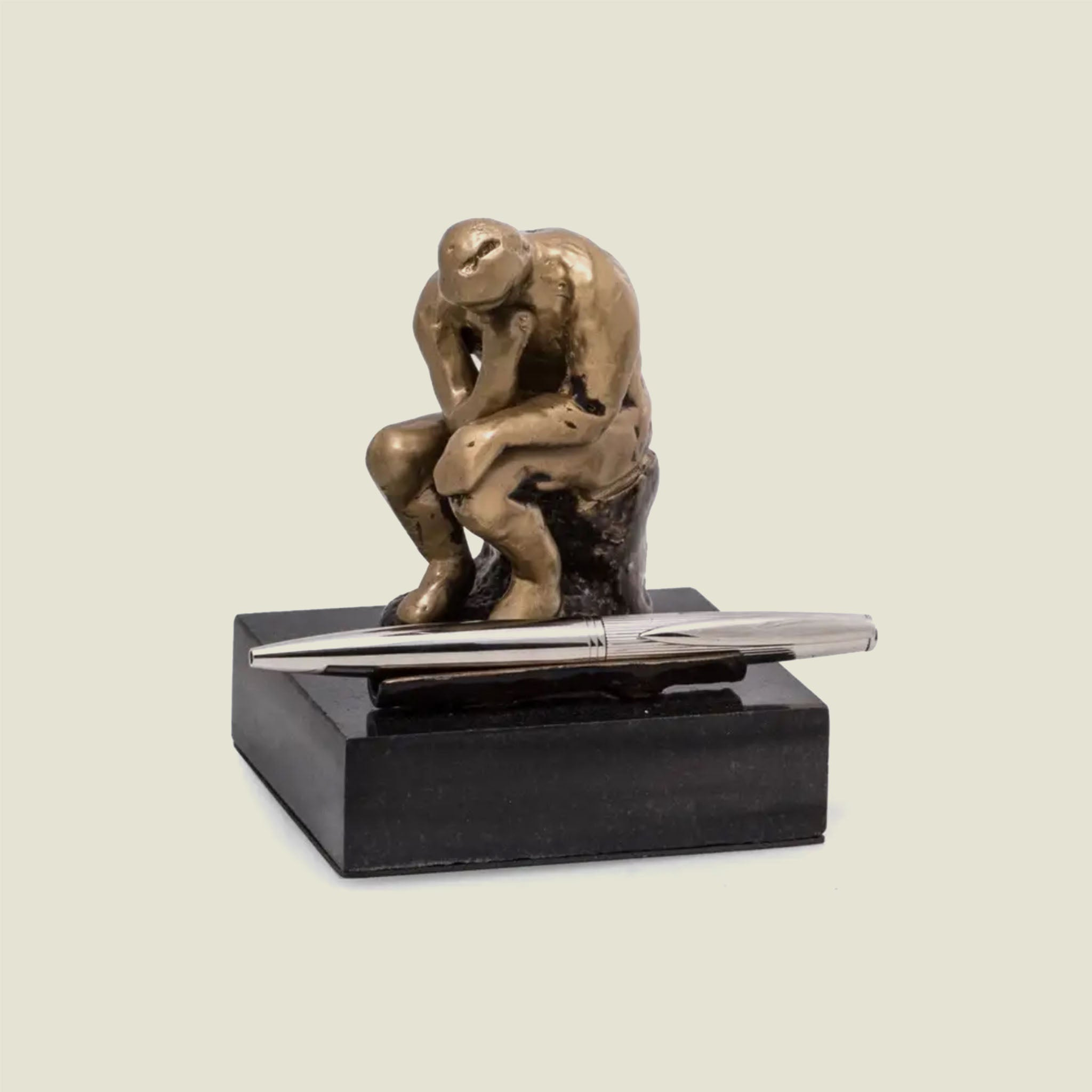 Bronze Finished Thinker Pen Holder on Black Marble - Blackbird General Store