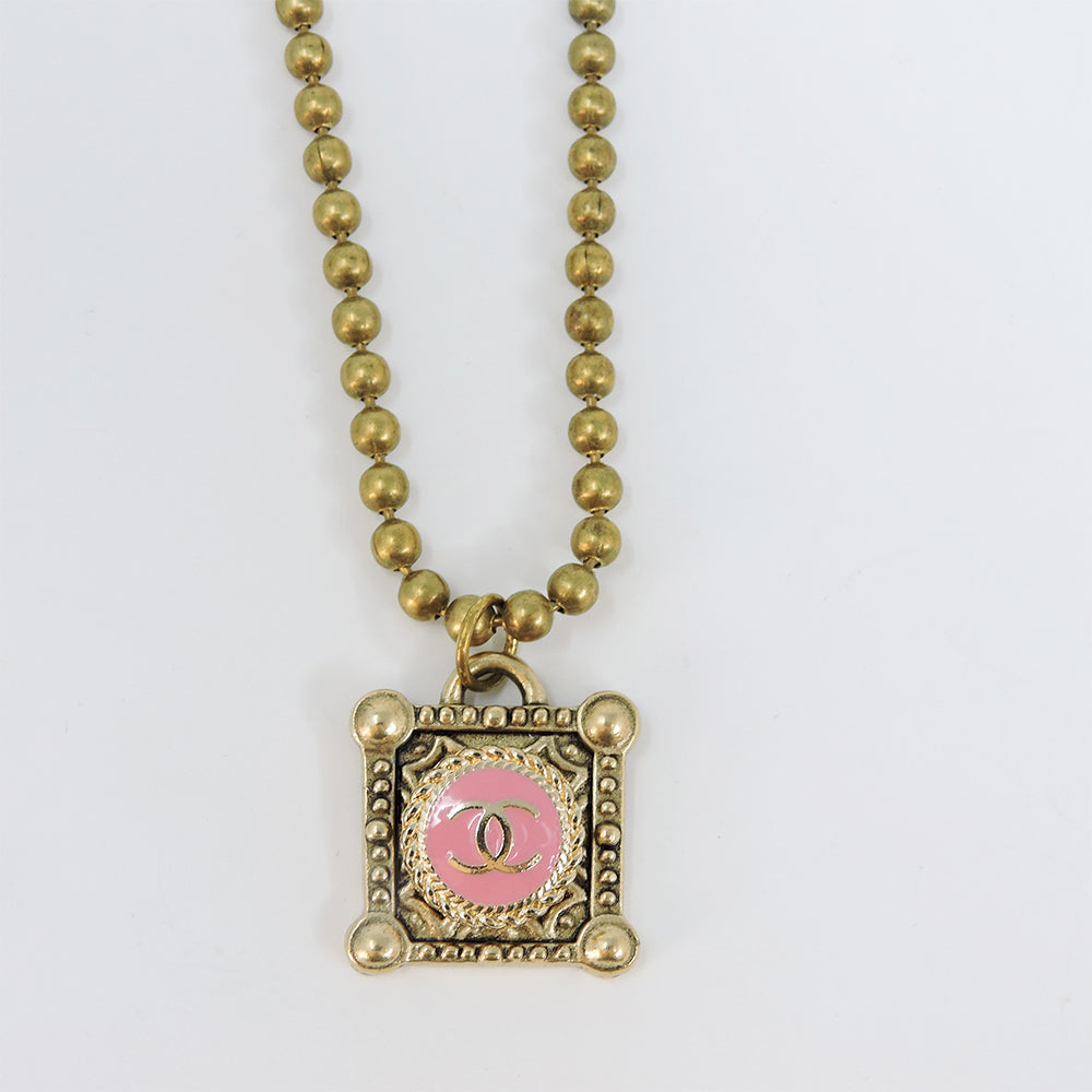 Vintage CC Pink Square Necklace - Blackbird General Store