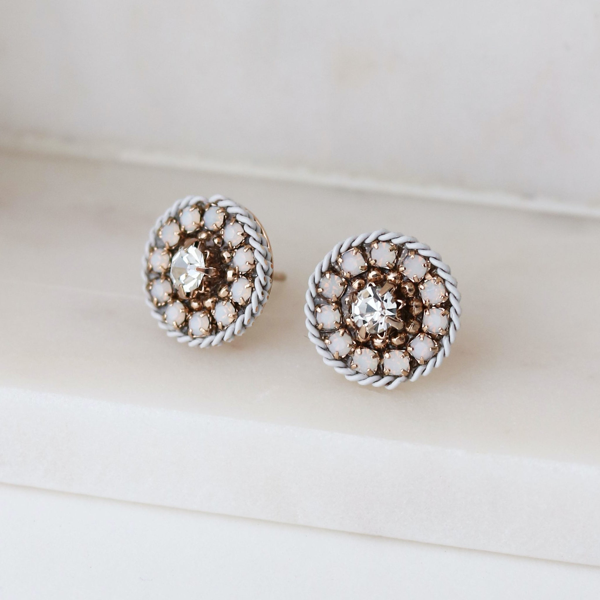Odyssey Stud Earrings - White
