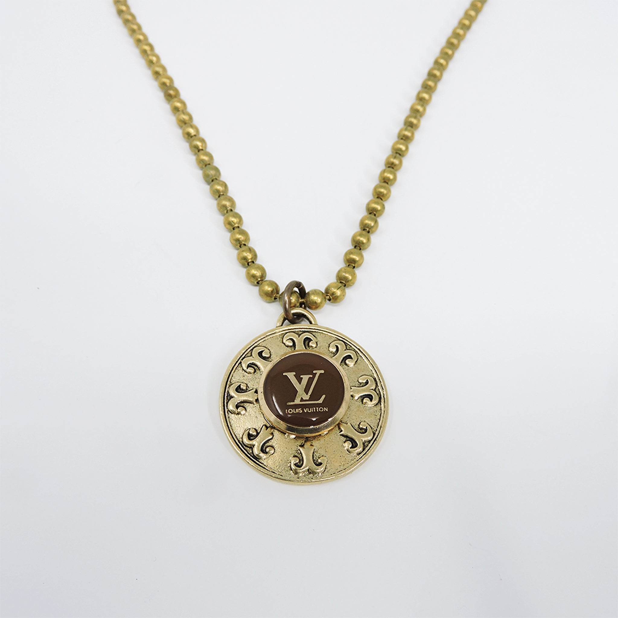 Vintage LV Brown Circle Necklace