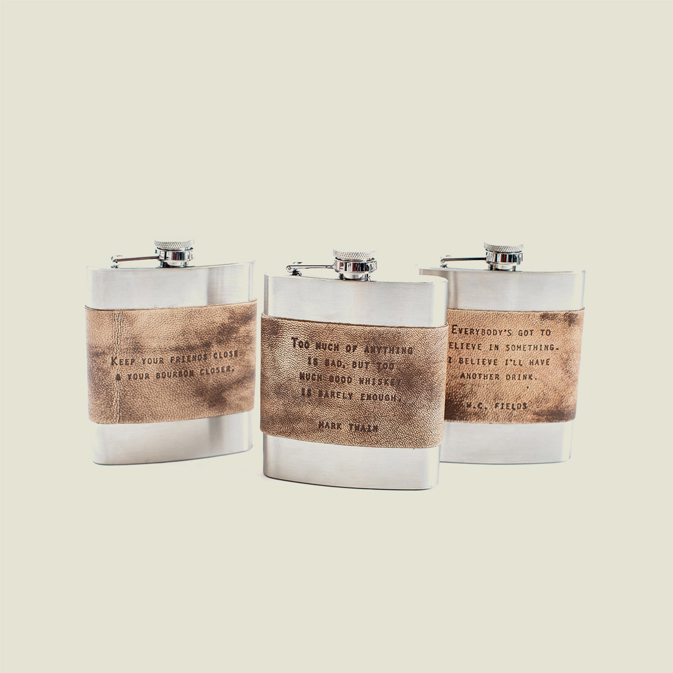 Leather Quote Flasks - Blackbird General Store