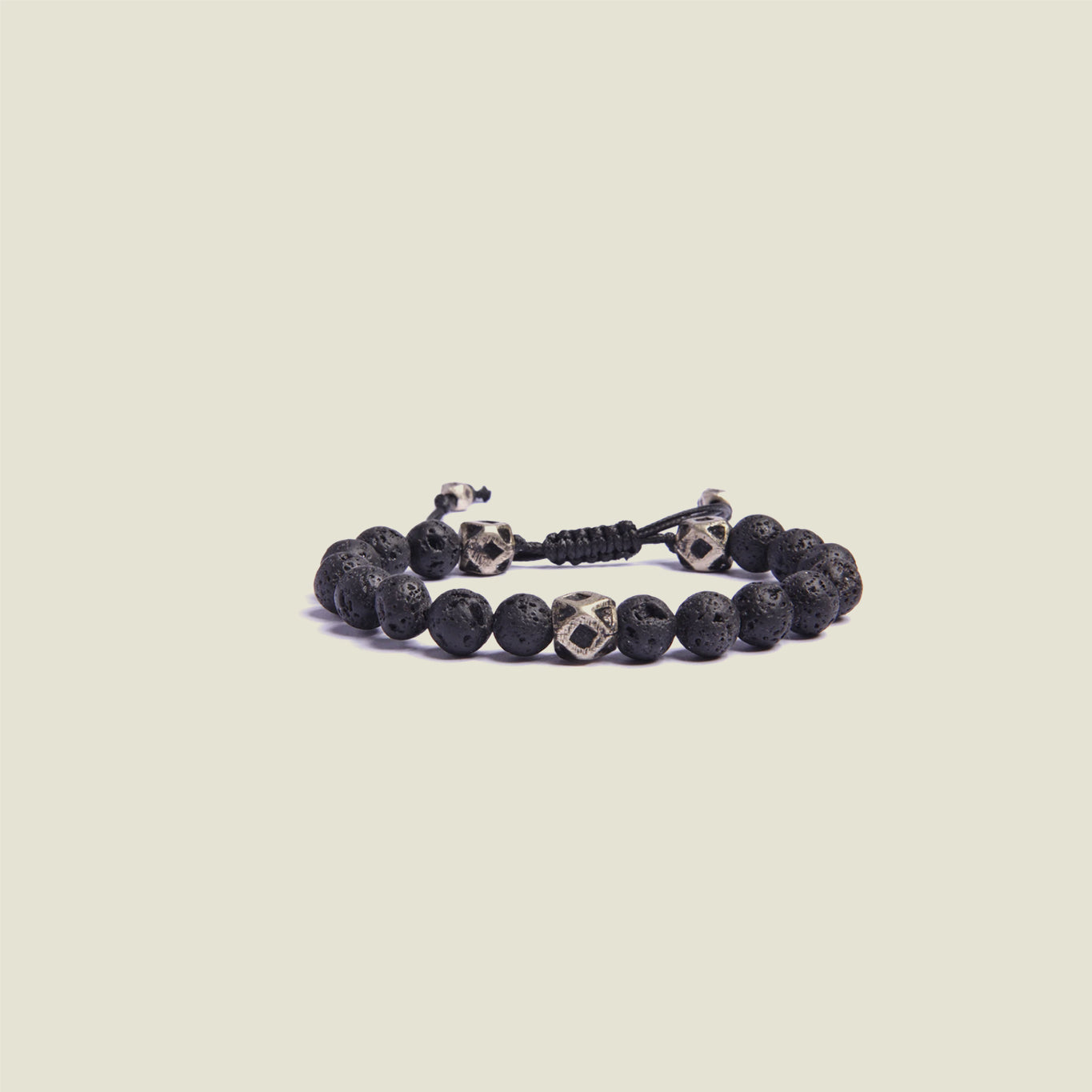 Lava Stone Silver Beaded Bracelet - Blackbird General Store