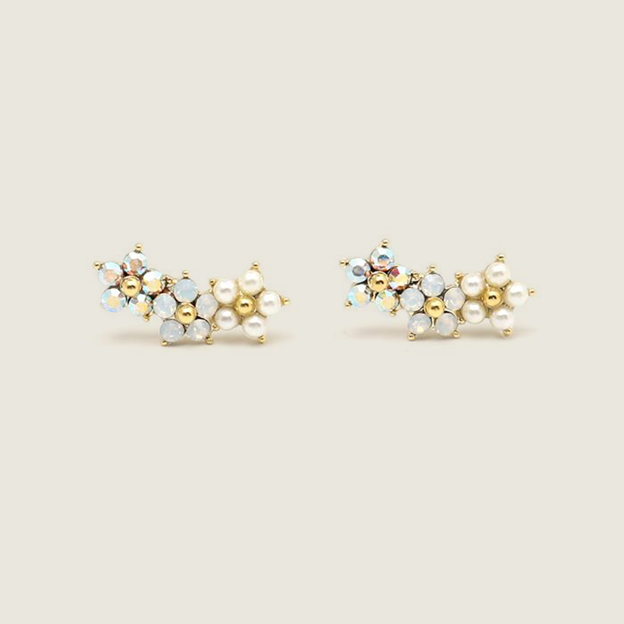 Floral Climber Earrings - White - Blackbird General Store