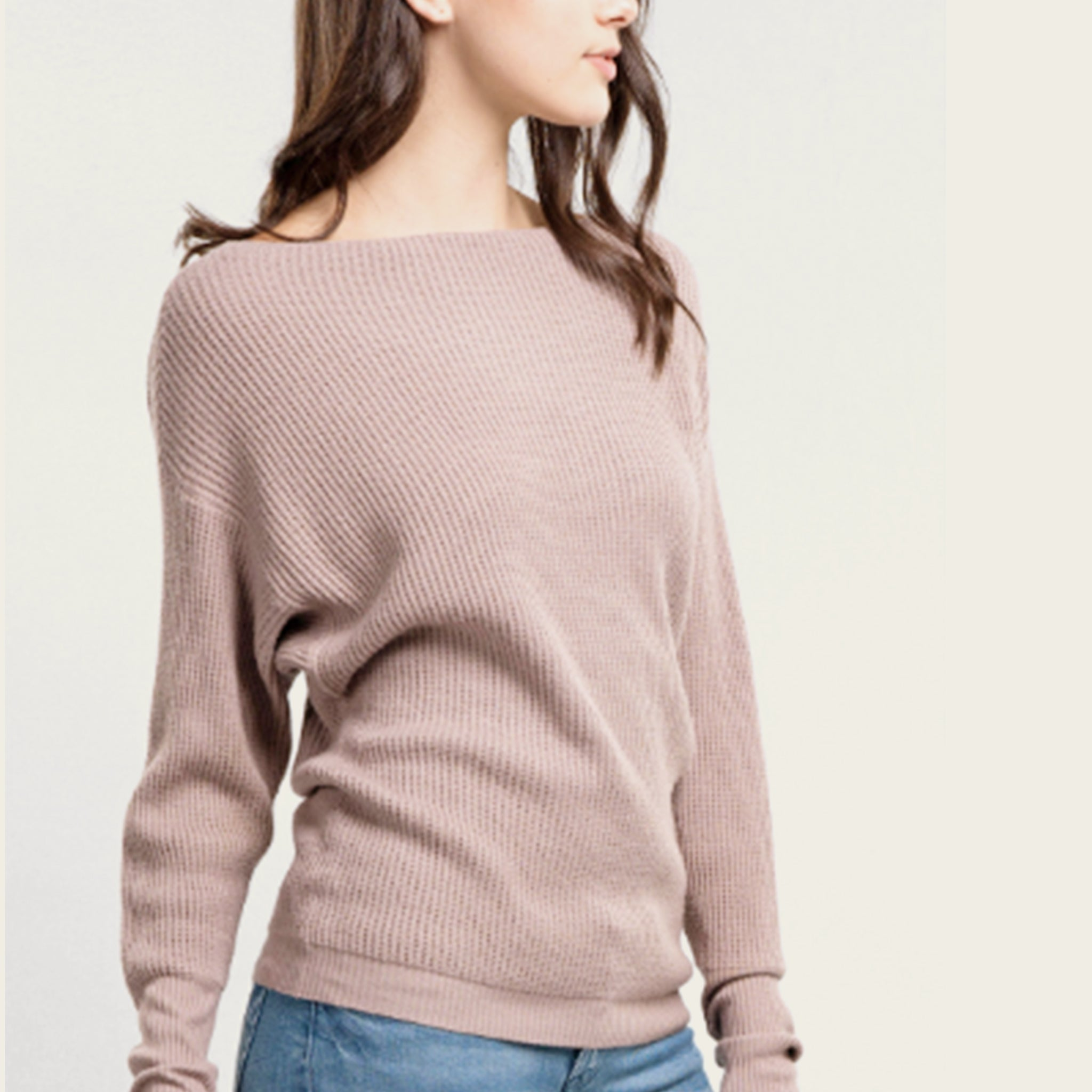 Dusty Lilac Boat Neck Sweater (Small) - Blackbird General Store