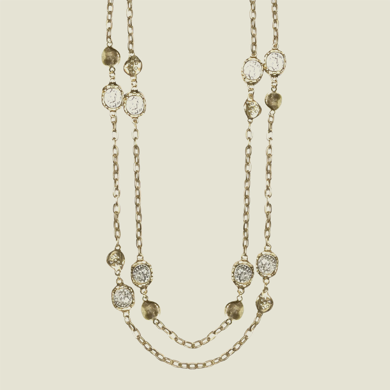 Gold Coin & Crystal Station Necklace - Blackbird General Store