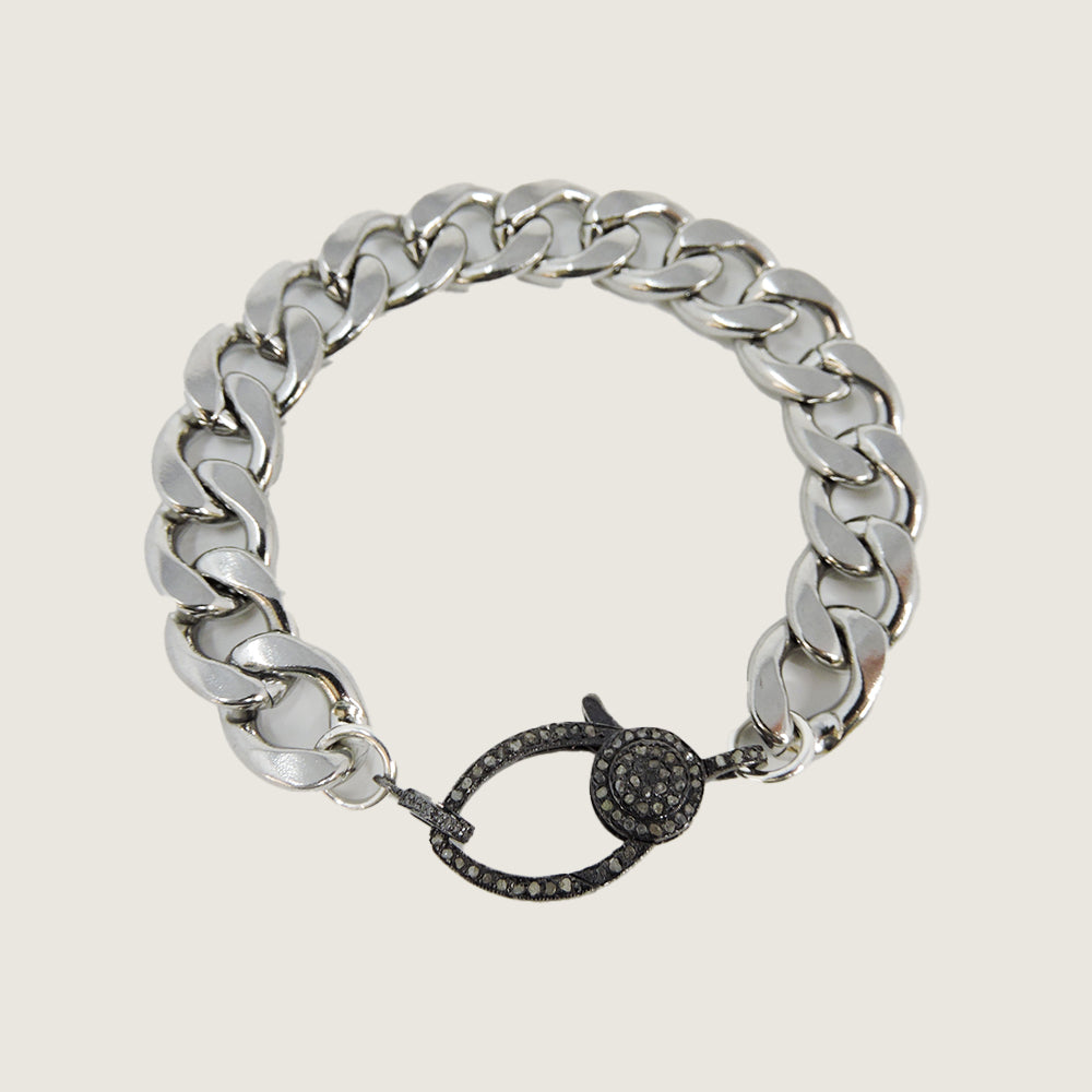 Silver Stainless Diamond Bracelet