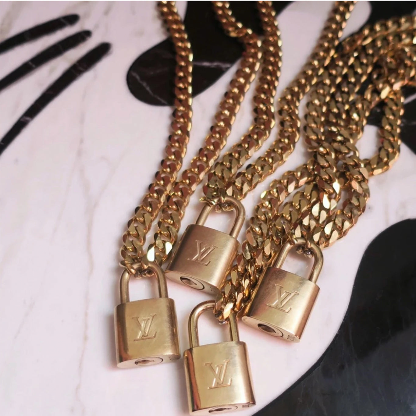Miami LV Lock Chain Necklace - Blackbird General Store