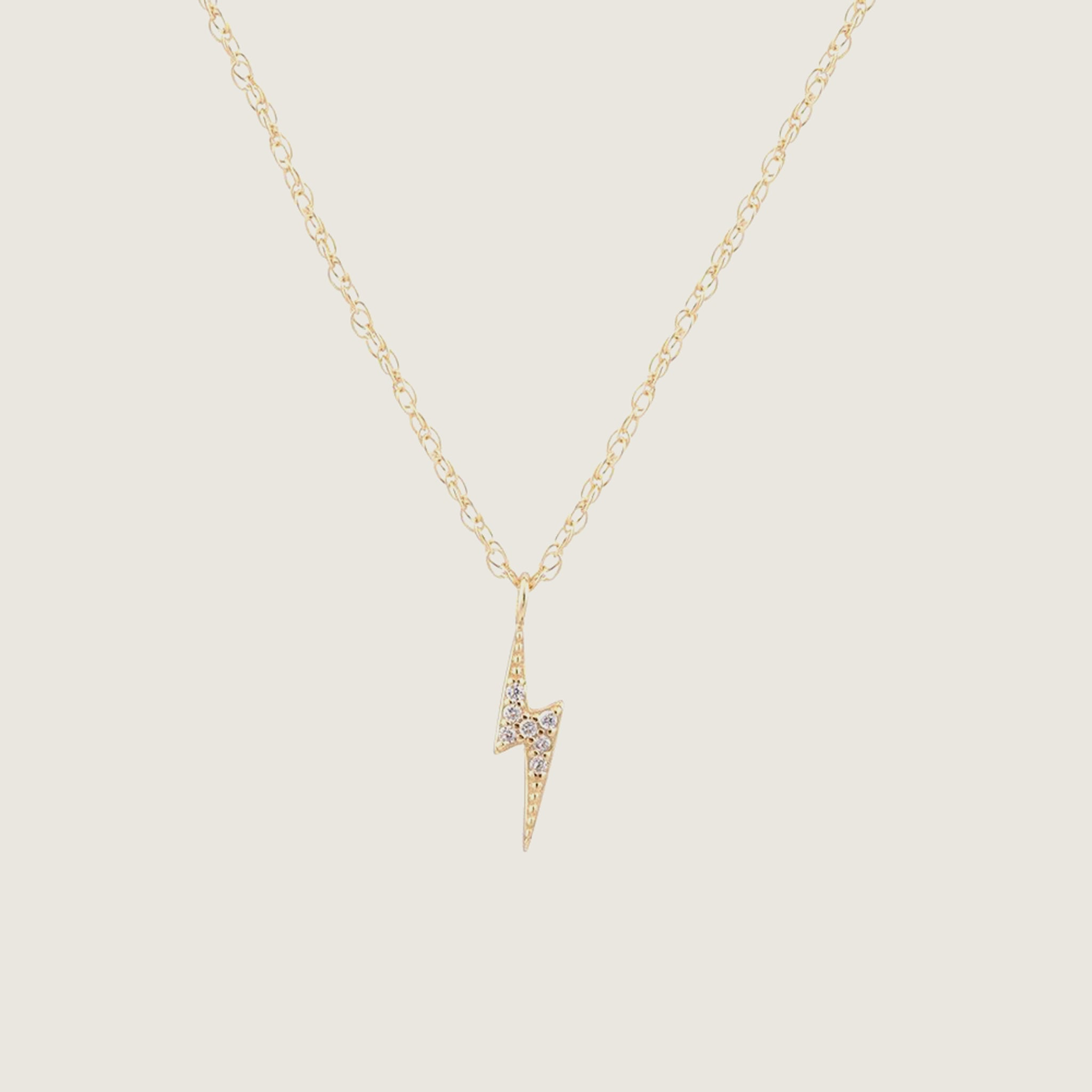 Lightning Bolt Pave Charm Necklace - Blackbird General Store