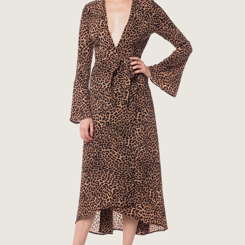 Cheetah Wrap Maxi Dress - Blackbird General Store