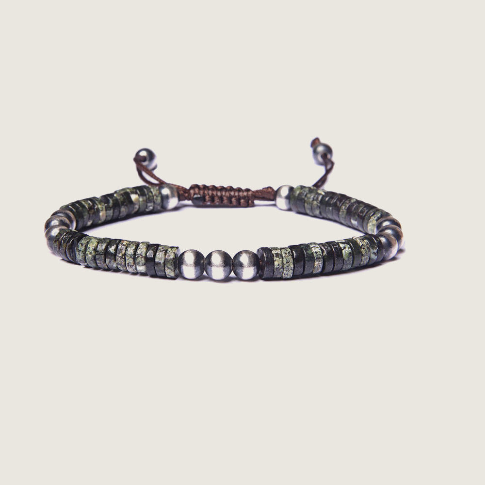 Green Jasper and Sterling Silver Men's Bead Bracelet - Blackbird General Store