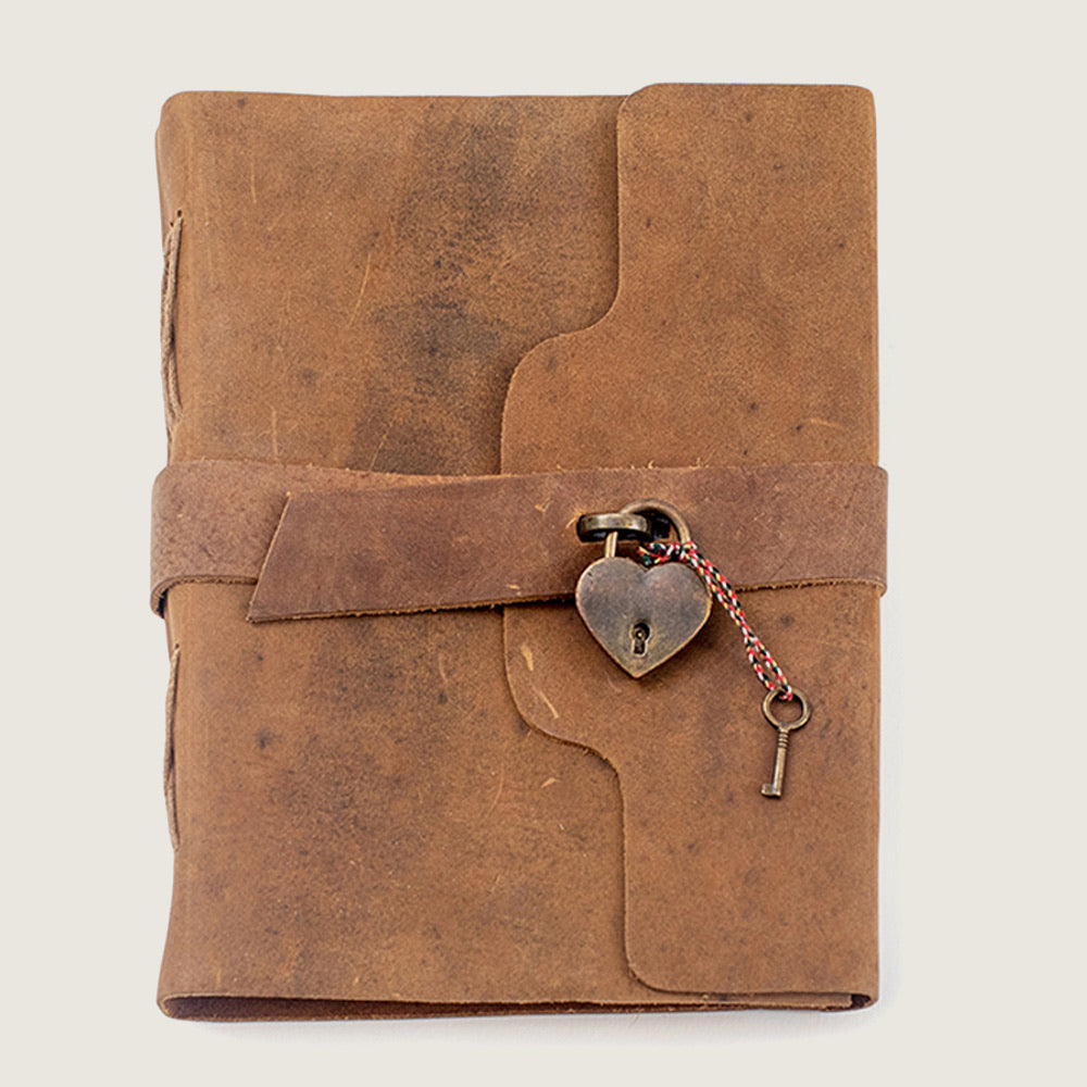 Leather Journal w/ Heart Lock - Blackbird General Store