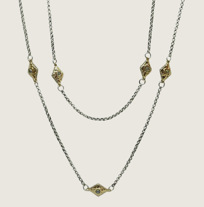 Gold Marquis VS Chain Station Necklace - Blackbird General Store