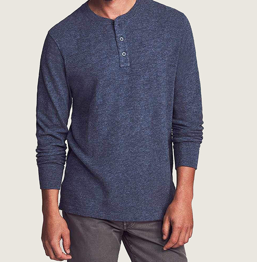 Slub Cotton Henley - Navy Heather - Blackbird General Store