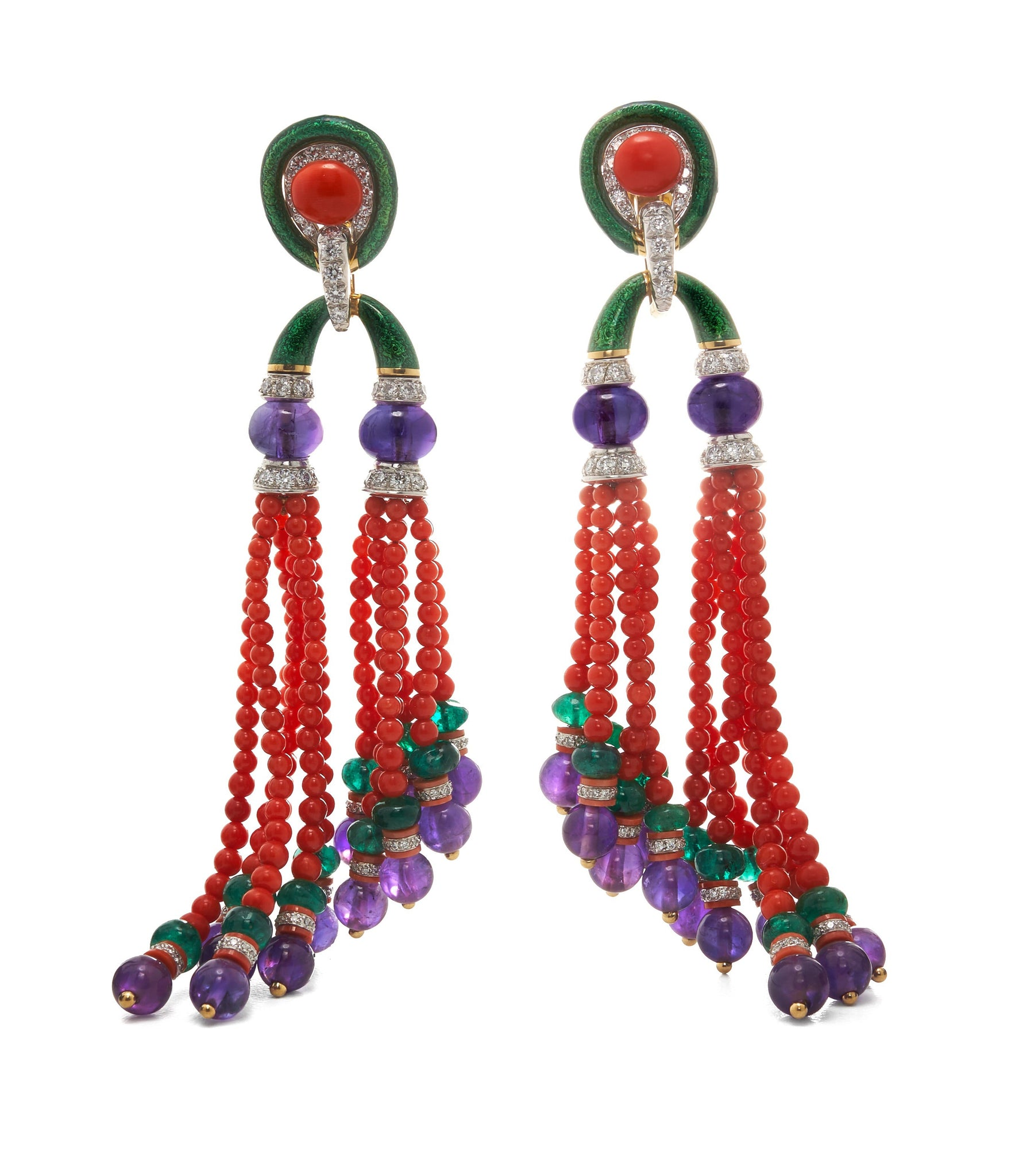 David Webb - Colors - Pagoda Tassel Earrings - Coral and Amethyst