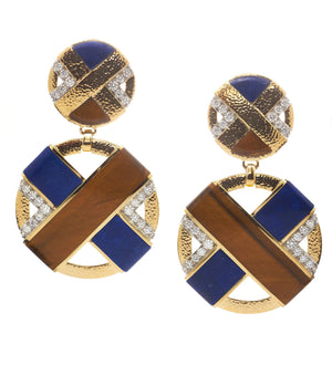 David Webb - 57th Street - XO Earrings - Lapis lazuli and Tiger's Eye