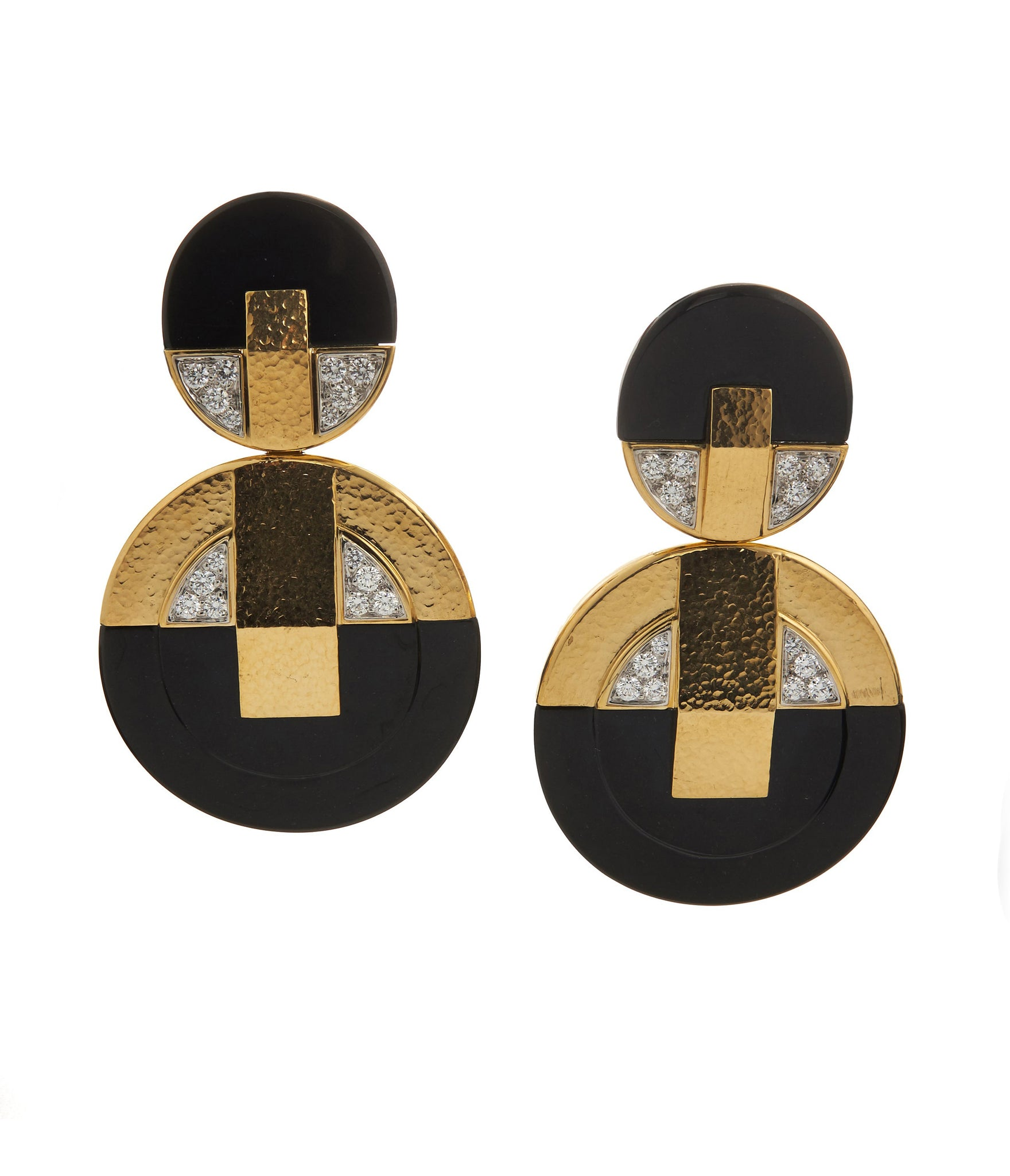 David Webb - Manhattan Minimalism - Disk Earrings - Black Onyx