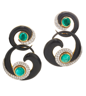 David Webb - Manhattan Minimalism - Ink Scroll Earrings