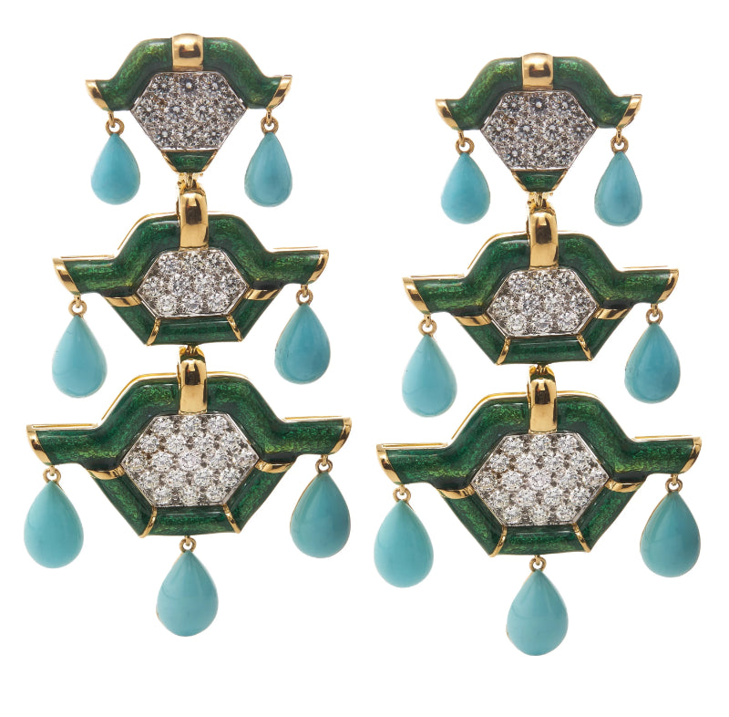 David Webb - Manhattan Minimalism - Triple Pagoda Earrings