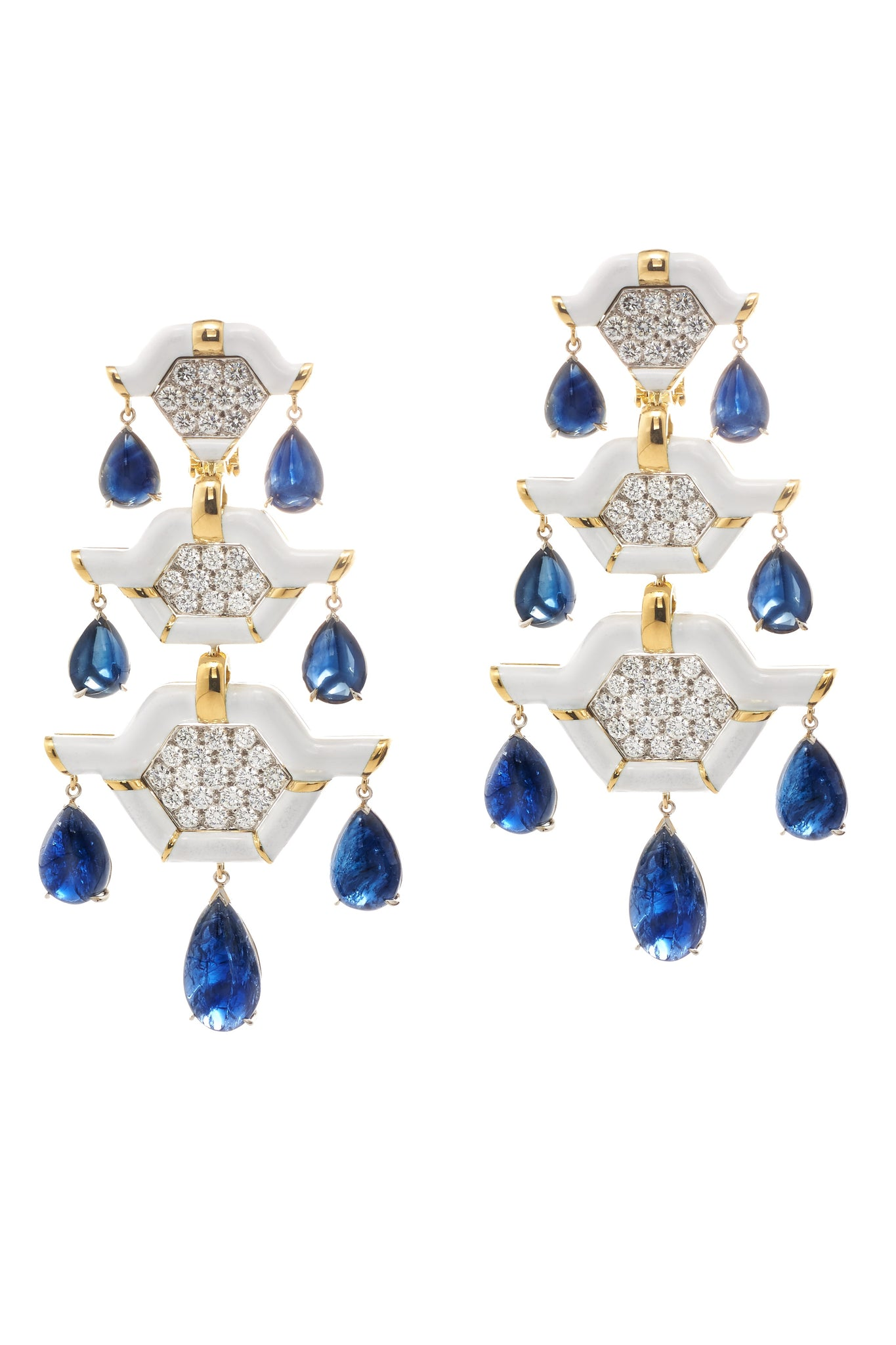 David Webb - Manhattan Minimalism - Triple Pagoda Earrings - Sapphire