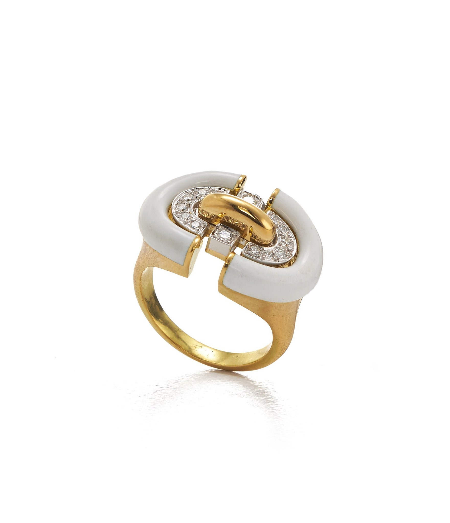 David Webb - Motif - Unity Ring - white enamel