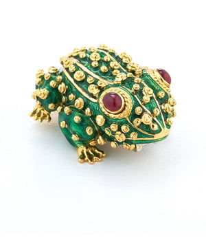 David Webb - Kingdom - Frog Brooch-ruby eyes