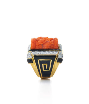 David Webb - Ancient World - Shrine Ring - Coral