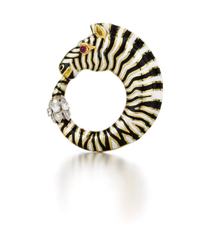 Zebra Circle Brooch