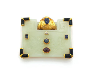 Jade Rectangular Brooch