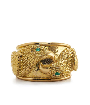 Repousse Twin Eagle Cuff