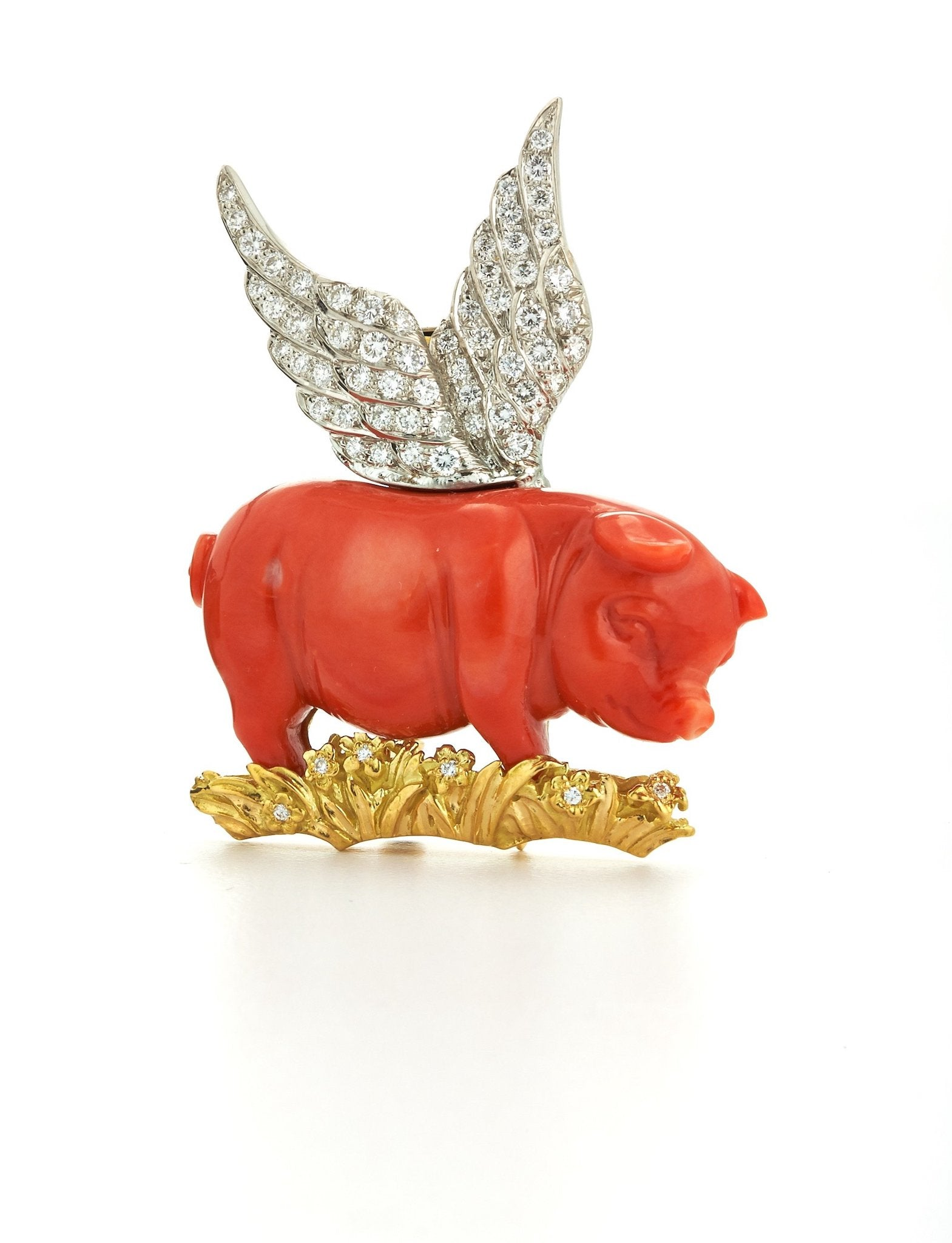 Winged Pig Brooch