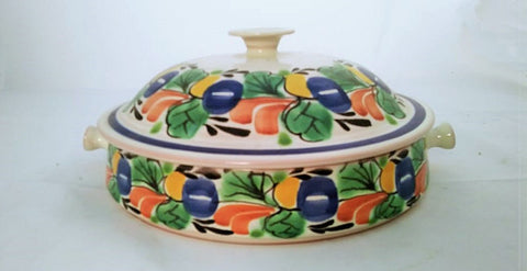 mexican ceramic hand thrown hand made hand painted pottery tabledecor tableware tortilla holder