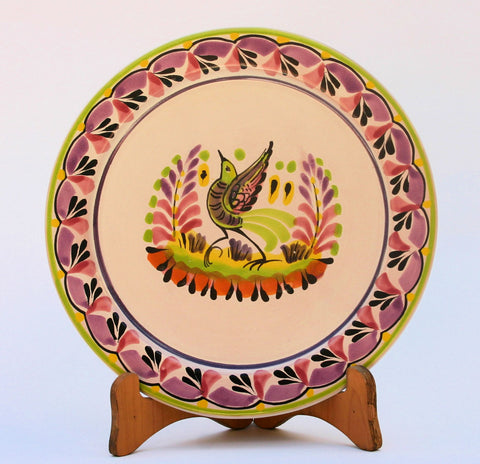 mexican plates dinner plate folk art hand made bird motive