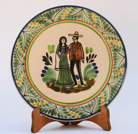 mexican plates ceramic folk art hand made wedding motive salad plate