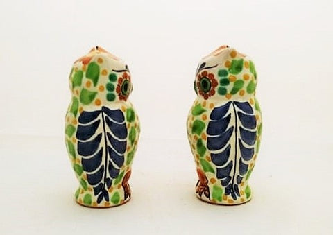 mexican ceramics pottery hand painted owl salt and pepper shaker folk art