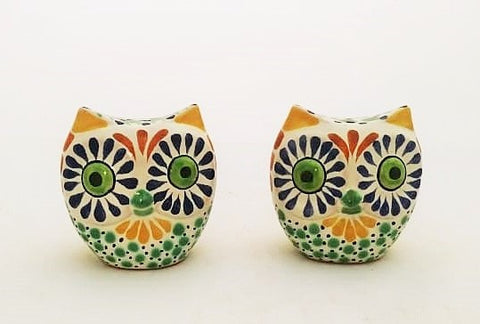 mexican salt and peppers shaker owl set pottery hand painted table decor