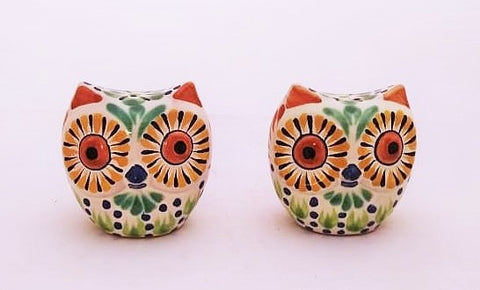 mexican ceramics table decor owl salt and pepper hand painted